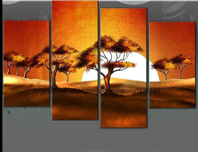 Large Unset Canvas Arte Imagem Pintura A Óleo Da Paisagem Africano Discount  Discount Wall Decor Música