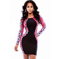 Sexy Women S Skinny Bodycon Bandage Mini Length Slim Woman Dress Long Sleeves Patchwork Design O