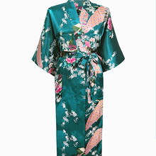 Hot Sale Drak Green Femmes Rayon Robes Gown Kimono Yukata Chinese Women  Sexy Lingerie Flower Sleepwear 91b9535ce
