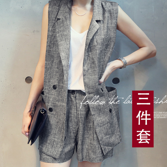 Collar Business OL temperament Suit collar sleeveless linen Waistcoat+chiffon vest+shorts 3 Piece Sets Fluid Systems Small Suits