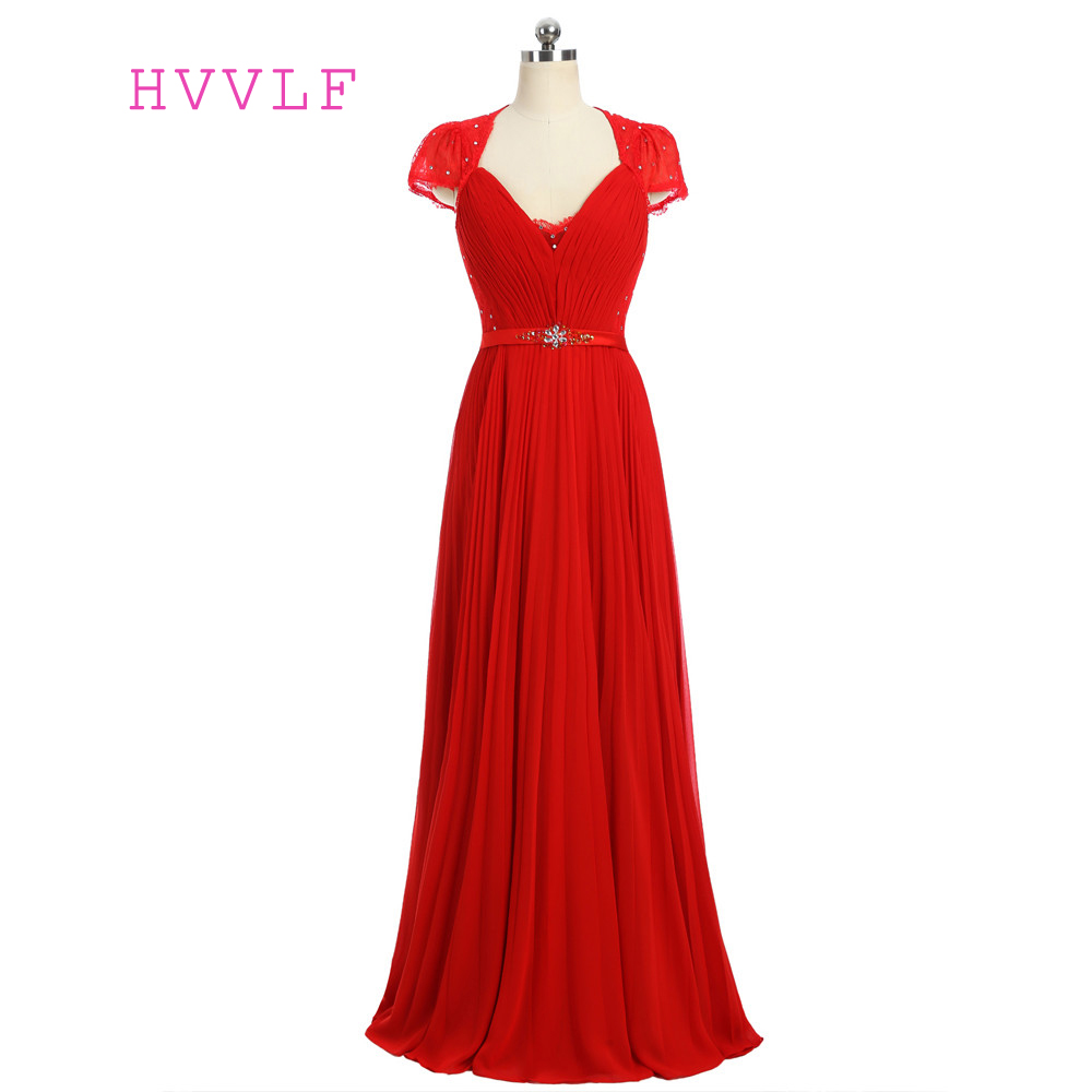 Red 2019 Formal Celebrity Dresses A-line Cap Sleeves V-neck Floor Length Chiffon Lace Beaded Famous Red Carpet Dresses