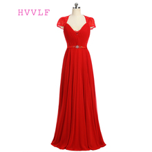 Red 2018 Formal Celebrity Dresses A-line Cap Sleeves V-neck Floor Length Chiffon Lace Beaded Famous Red Carpet Dresses