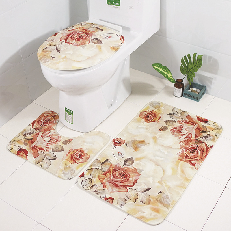 Image 2 - Zeegle Floral 3Pcs Bathroom Mat Set Anti slip Bathroom Floor Rugs Cushion Toilet Seat Cover Toilet Bath Mat Bathroom Carpet Set-in Bath Mats from Home & Garden