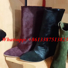 Fashion Brand Women Ankle Boots Horse Hair And Suede Patchwork Pointed Toe Slip-On Wedges Boots Women Botas Mujer Shoes Woman