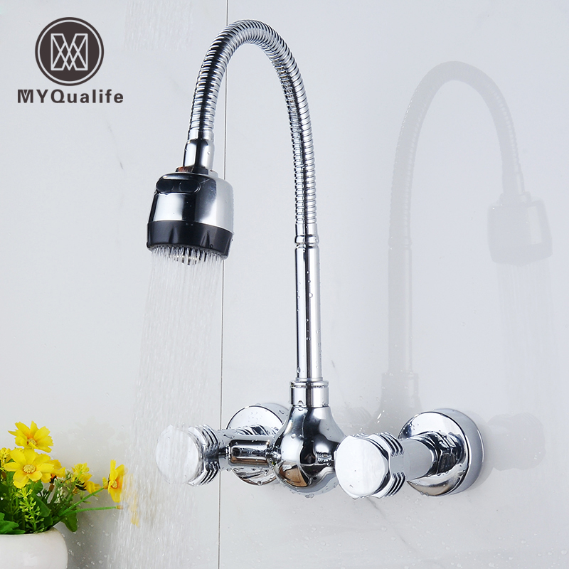 Wall Mount Kitchen Hot and Cold Water Faucet Dual Handle Flexible Hose Mixer Tap Chrome Finish