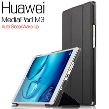 Ultra-thin Bussiness Stand Smart PU Leather Cover for Huawei MediaPad M3 BTV-W09/DL09 8.4″ Tablet Case+Free Screen Protector+Pen