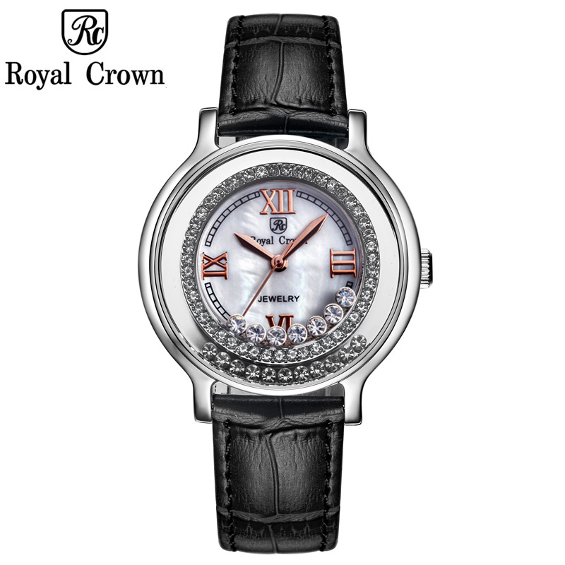 Royal Crown Women's Watch Japan Quartz Hours Fine Fashion Dress Clock Leather Shell Luxury Moving Rhinestones Girl's Gift