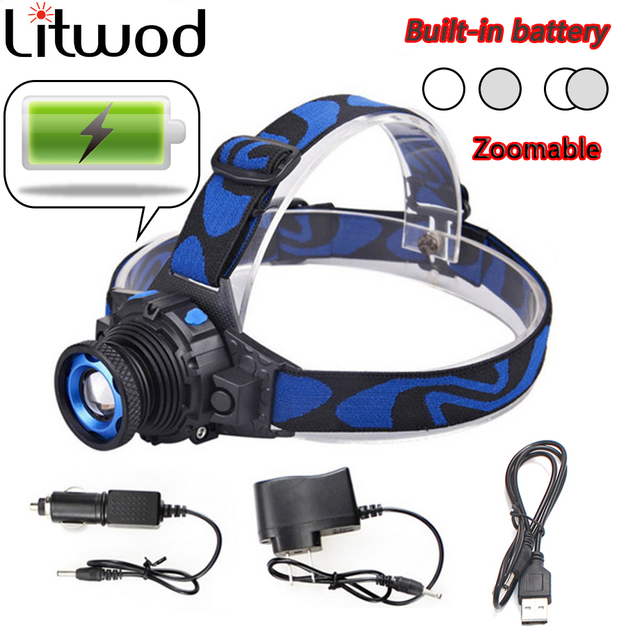 Litwod Z202308 Build-in Rechargeable Battery XML Q5 Led Bright Headlamp Head Light Head Flashlight Head Zoomable Head Lamp