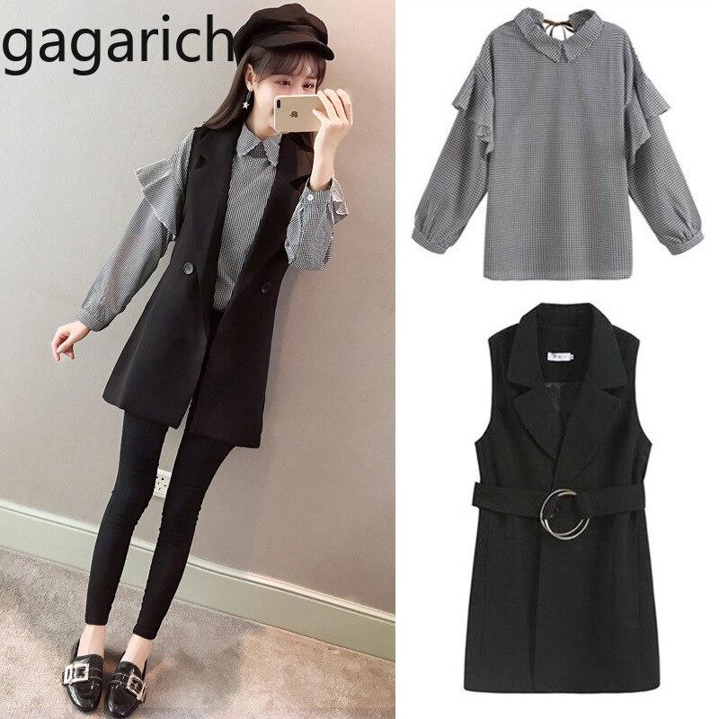 Gagarich 2019 Spring Women Two Piece Set New Fashion Marquee Temperament Fashion Female Plaid Shirt & Black Vest 1