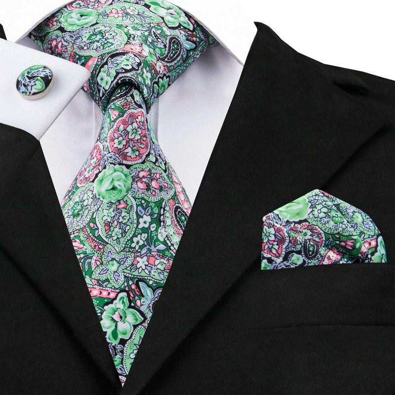 C-1232 Grün Pink Floral Krawatten Taschentuch Manschettenknöpfe Druck Herren Krawatten Set Mit Marke Krawatte Gravatas Krawatten Für Männer