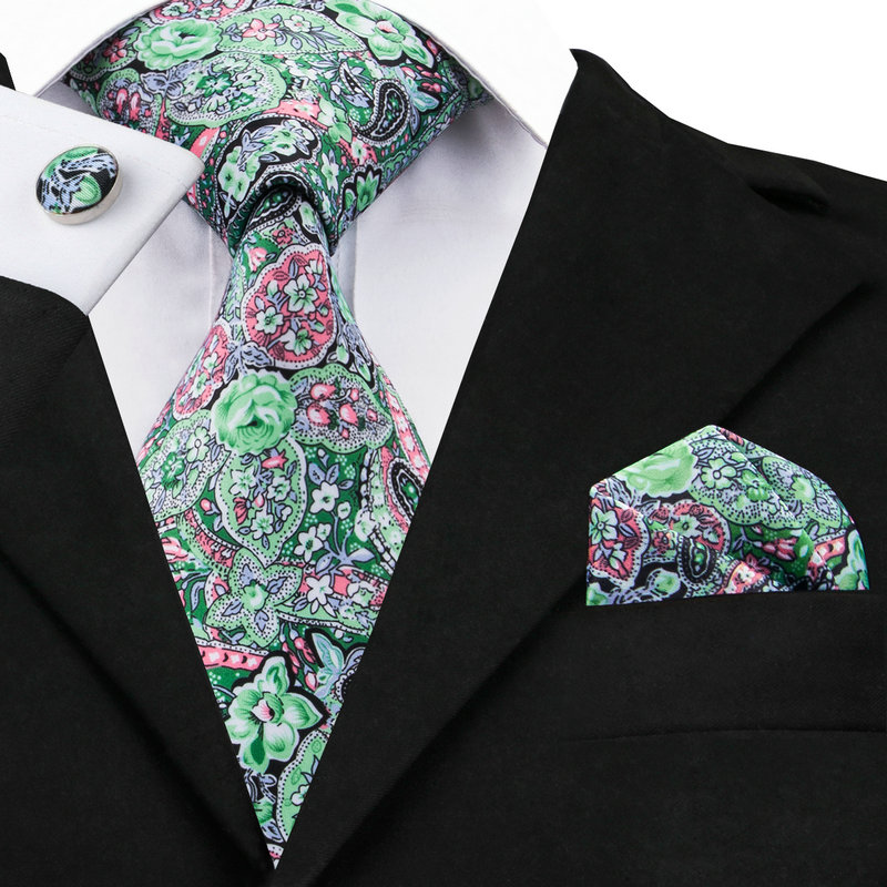 C-1232 Green Pink Floral Neck Ties Handkerchief Cufflinks Print Mens Ties Set With Brand Hi-tie Gravatas Neckties For Men