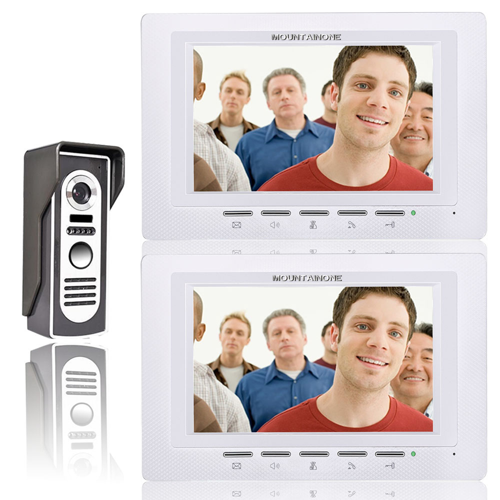 Visual Intercom Doorbell 7'' LCD Wired Video Door Phone System 2pc White Indoor Monitor 700TVL Outdoor IR Camera Support Unlock