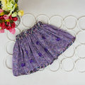 2-7Y Cute Baby Kids Girl Bow Floral Tulle Tutu Skirt Floral Pompon Layered Skirt
