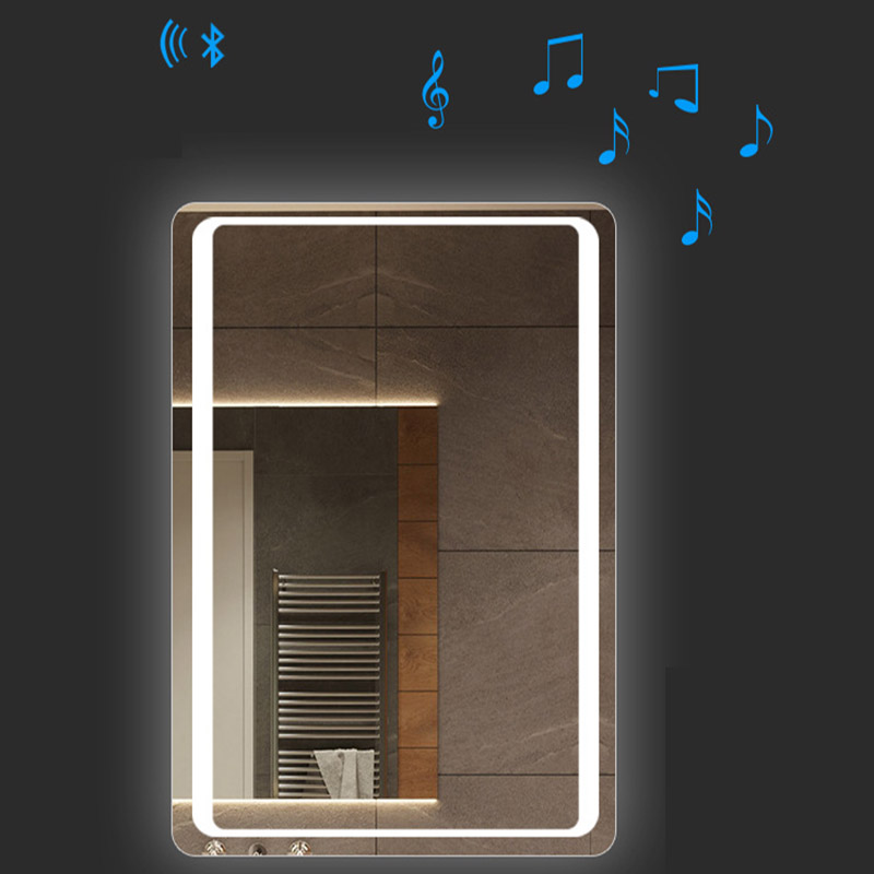 Glamo Hotel Custom Touch Bluetooth Bathroom LED Mirror Smart Anti fog Wall Vanity mirrorl For Home 2 Colors Light espejo pared tocador 2