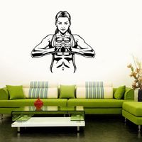 Women Gym Name Sticker Girl Dumbbell Fitness Crossfit Decal Body building Posters Vinyl Wall Decals Parede Decor Gym Sticker