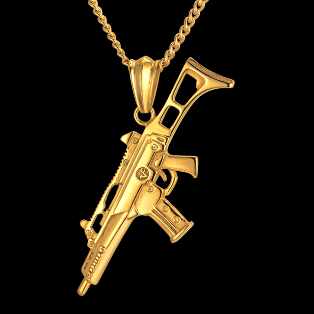 Germany style gun pendant necklace hip hop men jewelry blackgold germany style gun pendant necklace hip hop men jewelry blackgold color stainless steel schmuck aloadofball Image collections