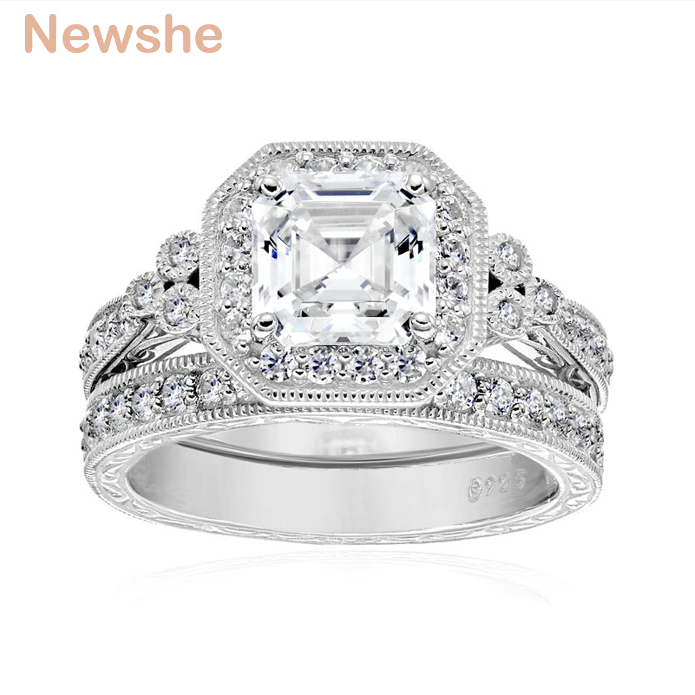 Image 2 - Newshe Genuine 925 Sterling Silver Halo Wedding Engagement Ring Set 1.2 Ct AAA Princess CZ Fashion Jewelry For Women JR4970fashion ring setring setwedding ring set -