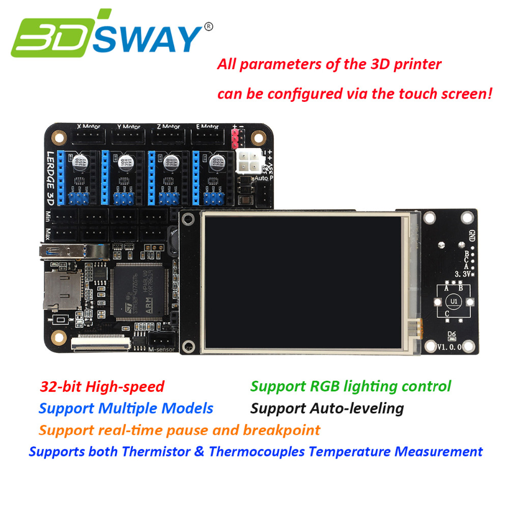 "3DSWAY Lerdge Board with Thermistor and Thermocouple 3D Printer Board ARM 32bit Controller DIY Kit with 3.5"" TFT Auto-leveling"