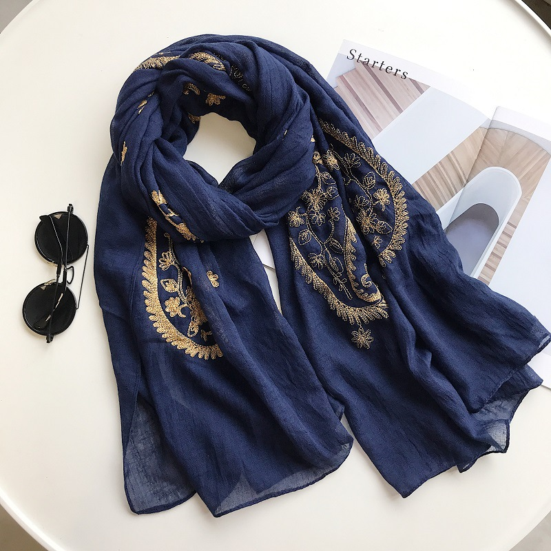 Autumn Winter Fashion Embroidered Cashew Floral Viscose Shawl Scarf From Indian Women Warm Pashmina Hijab And Wraps Muslim Sjaal