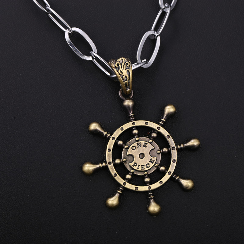 Anime One Piece pirate ship rudder necklace collier One Piece Cosplay choker Men Jewelry