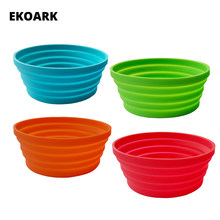 350ml Silicone Collapsible Bowl 4 Colors Travel Folding Bowl Outdoor Food-Grade FDA Mixing & Soup Bowl for Camping/Hiking/Sport(China)