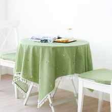 Spring Owl Bamboo Cloth Kitchen Tablecloth With Tassel By  Freelove,Rectangle,Green,Assorted Size,for Home,Outdoor,Party,Picnics.