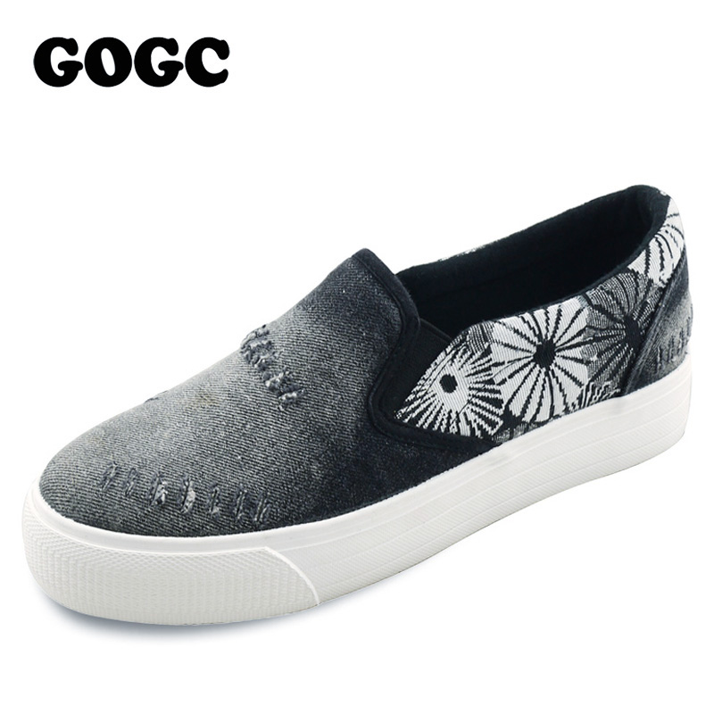 GOGC 2018 New Flower Women Shoes Height Increasing Floral Canvas Shoes Women Casual Shoes Women Platform Flats Female Footwear height increasing spring autumn new canvas female women s platform shoes full black fashion shoes