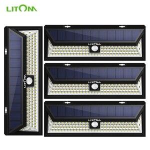 Image 1 - 4 Pack LITOM 102 LED Drahtlose Solar Lichter Outdoor Garten Helle Motion Sensor Sicherheit Lichter Wasserdichte IP65 heißer Luces Solares