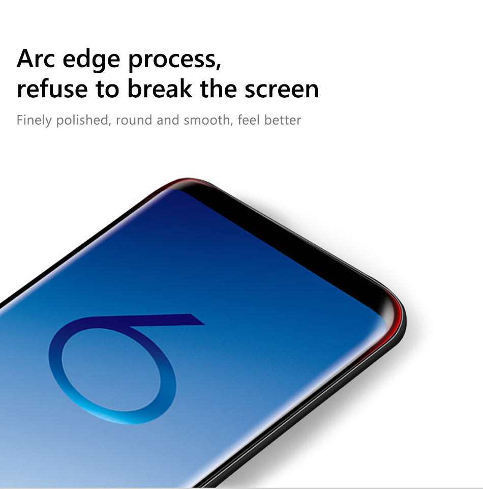 !ACCEZZ Curved Coverage Tempered Glass Film For Samsung S8 S9 Plus Note 8 Anti-fingerprint Protector Screen Front Clear Films (4)