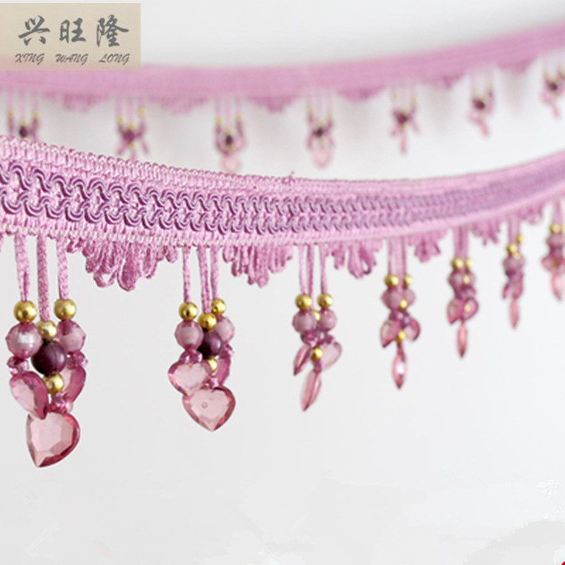 XWL New 12M/Lot 9cm Width Three Love Beads Curtain Lace Accessories Tassel Fringe Trim Ribbon DIY For Curtain Sofa Stage Valance