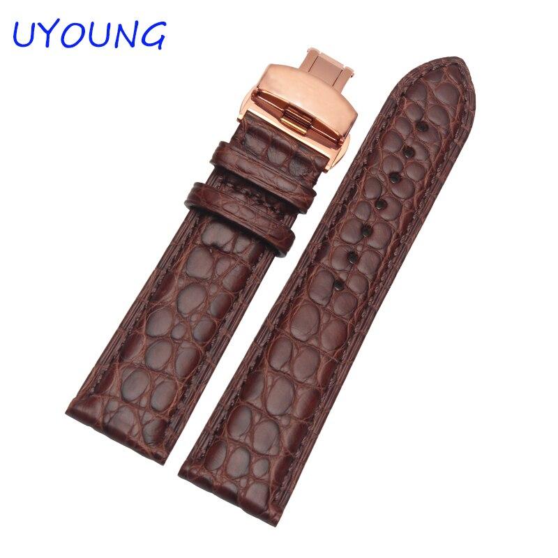 Bracelet de montre pour hommes en cuir véritable peau d'alligator de qualité 16mm 18mm 19mm 20mm 21mm 22mm noir marron accessoires de montre