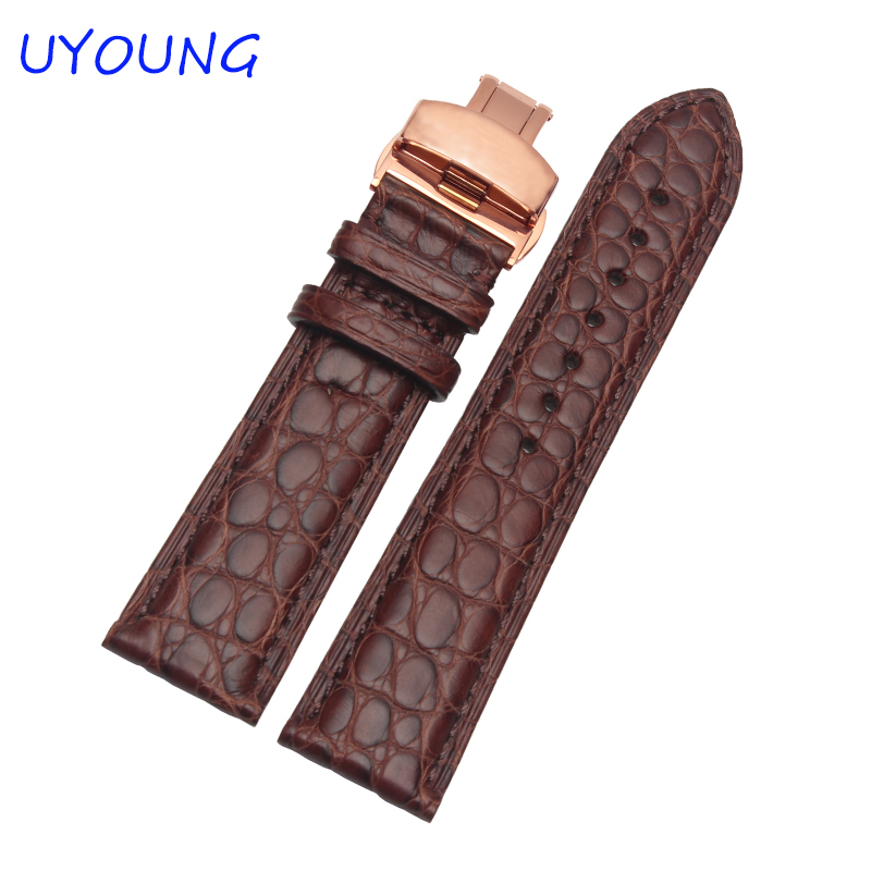 Quality Alligator Skin Genuine Leather Mens Watch Band 16mm 18mm 19mm 20mm 21mm 22mm black brown Watch Accessories все цены