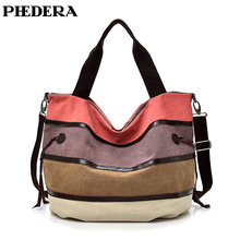 PHEDERA New Patchwork Canvas Women Shoulder Bags Rainbow Pink and Blue Striped Female Purse Fashion Messenger Bag 2019