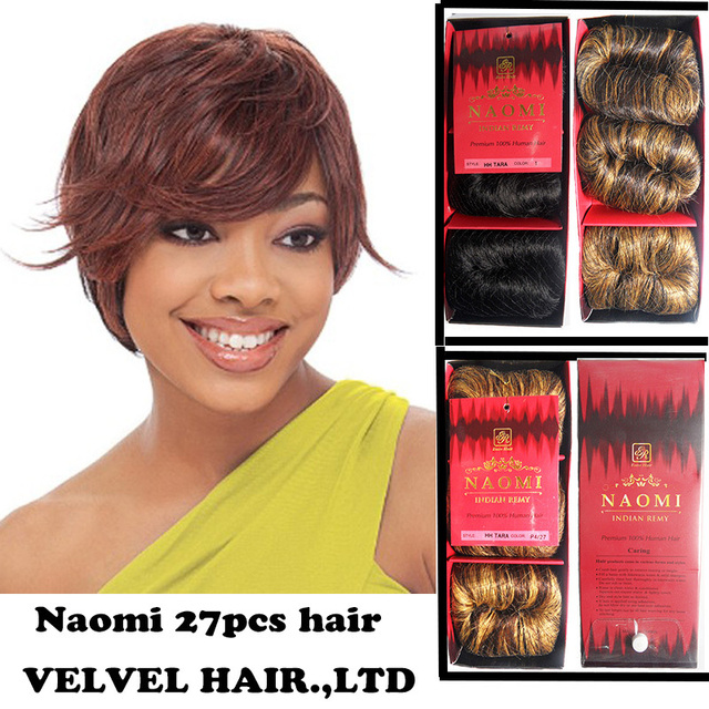 1PC+Free Shipping Indian Remy Virgin Blended Hair Naomi 27pcs Bump Blended Hair Weave Hair Toupee Color1,2,P2/30,P2/33,P4/27