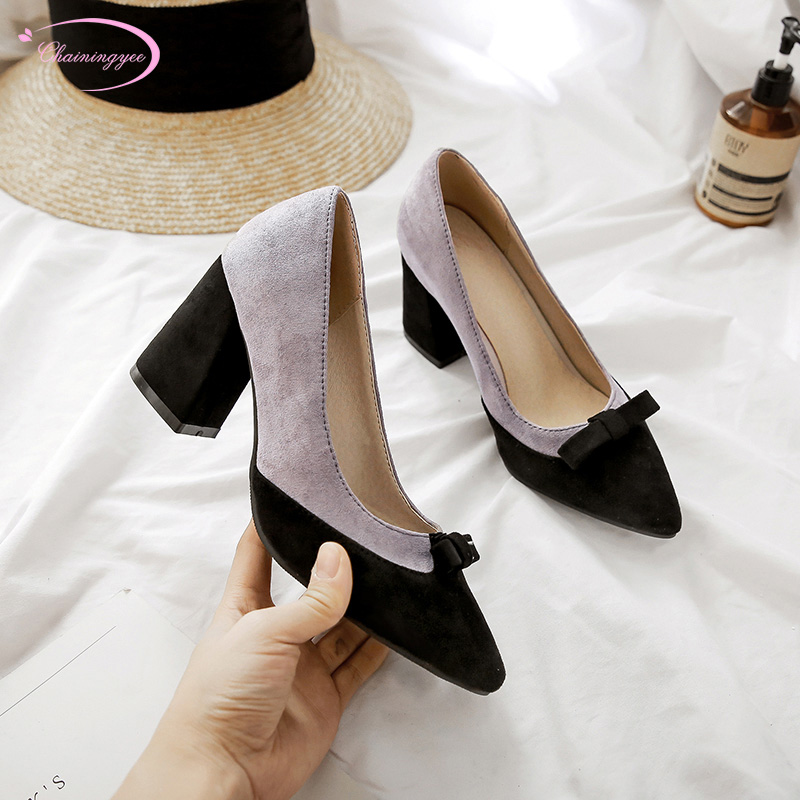Japanese college style sexy pointed toe flock pumps bowknot color matching apricot purple thick high heel women's shoes big size