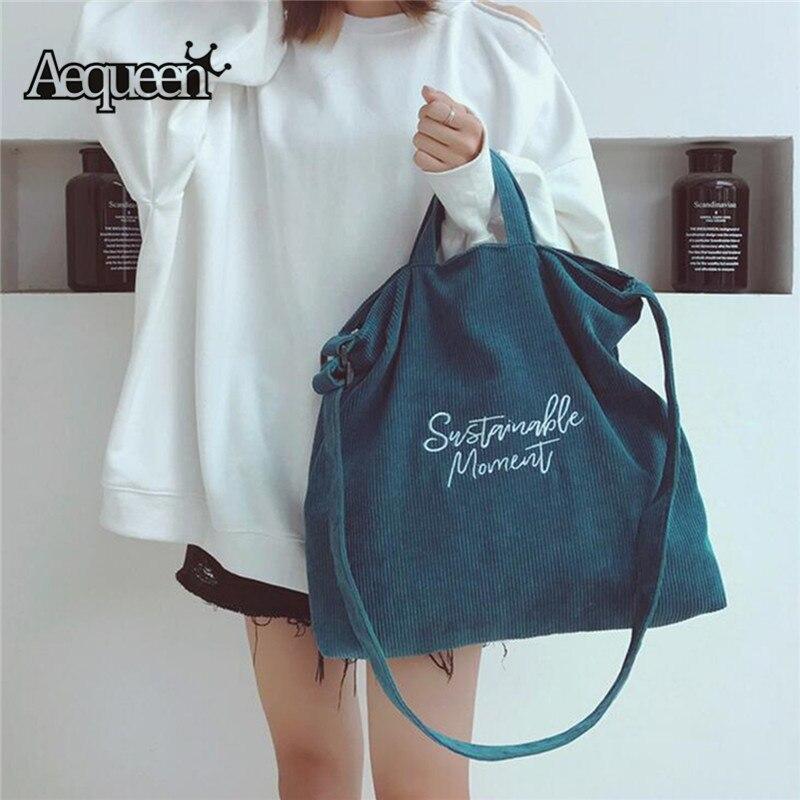 06135e55 AEQUEEN bolsa de lona de gran capacidad para mujer bolso de lona de pana  para mujer bolso de hombro Casual bolsa de compras plegable bolsa de playa  para ...