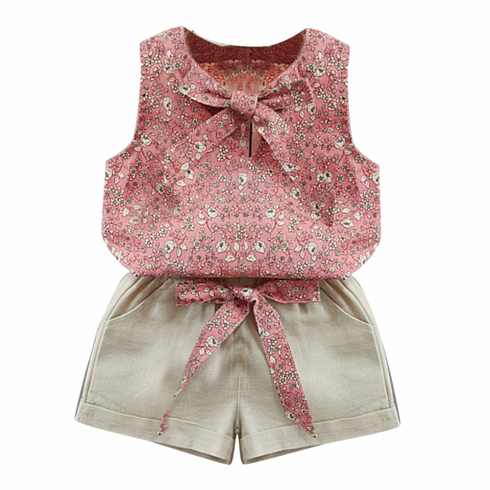 Infant Toddler Kid Baby Girl Clothes Floret Bow knot Sleeveless T shirt Vest Top Shorts Princess Summer Outfits 2 pcs set flower sleeveless vest t shirt tops vest shorts pants outfit girl clothes set 2pcs baby children girls kids clothing bow knot