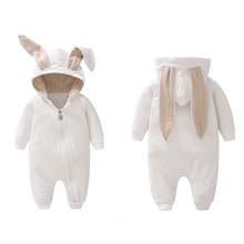 Spring Autumn Baby Clothes Cotton Baby Boys Girls Clothes Cartoon 3D Rabbit Ear Rompers Jumpsuit Newborn Infant Rompers autumn cotton rabbit ear knitted rompers infant girls boys cute animal playsuits dot printed hooded outfits baby clothes