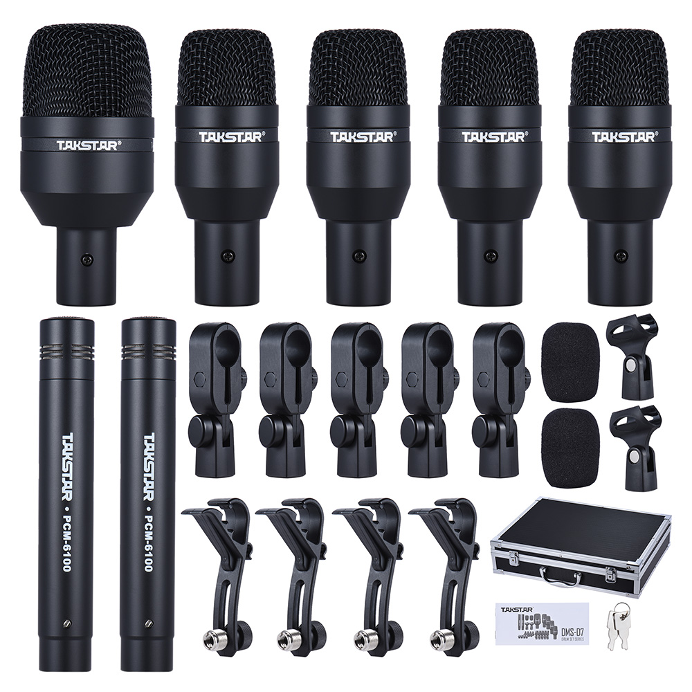 DMS D7 Professional Musical Instruments Drum Set Wired Microphone Mic Kit w Standard Mounting Accessories Carrying