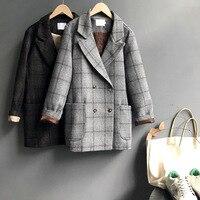 Mooirue Winter Female Blazer Coat Slim Single Breasted England Restore Woolen Loose Lattice Suit Casual Straight Cardigan