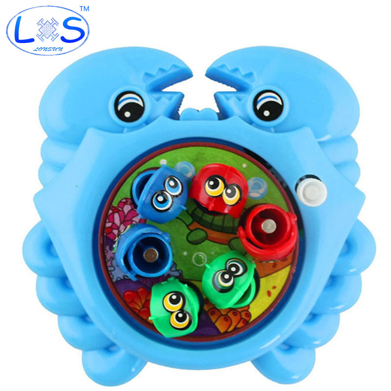(LONSUN)Color Random Delivery Fishing Toys Rotating Magnetic Magnet Fishing Toy for Kid Educational Toy Parent-child Game