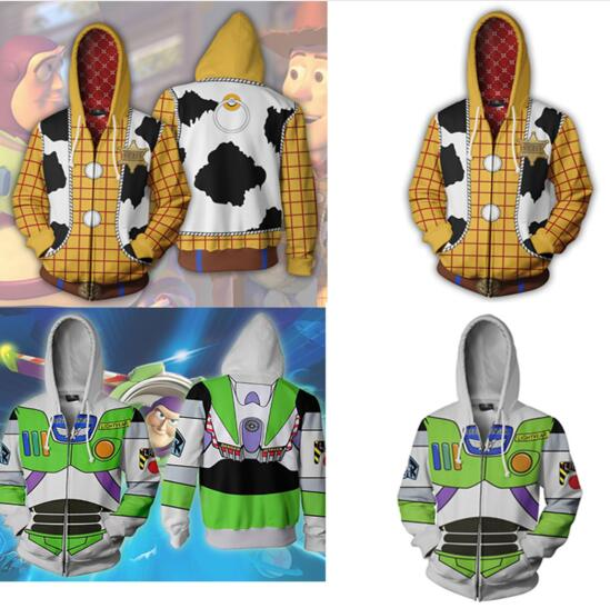 Men 3D Toy Story Woody Cosplay Costume Hoodies Buzz Lightyear Sweatshirt Fashion CowBoy Woody Zipper Jacket Sport Coat