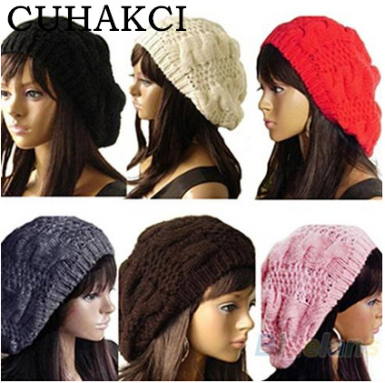 CUHAKCI 2017 Fashion Women Lady Beret Braided Hats Baggy Beanie Crochet Warm Winter Hat Ski Cap Wool Knitted Caps Free Shipping winter women beanie curl all match crochet knitted hiphop hats warm ski hat baggy cap femme en laine homme gorros de lana 62