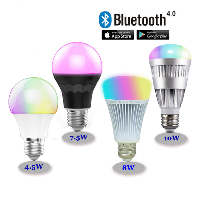 LED Bulbs 1 piece Lamps RGBW Bluetooth 4.0 E27 Smart Mi.light RGB with color temperature adjust dimmable lighting in stock LH