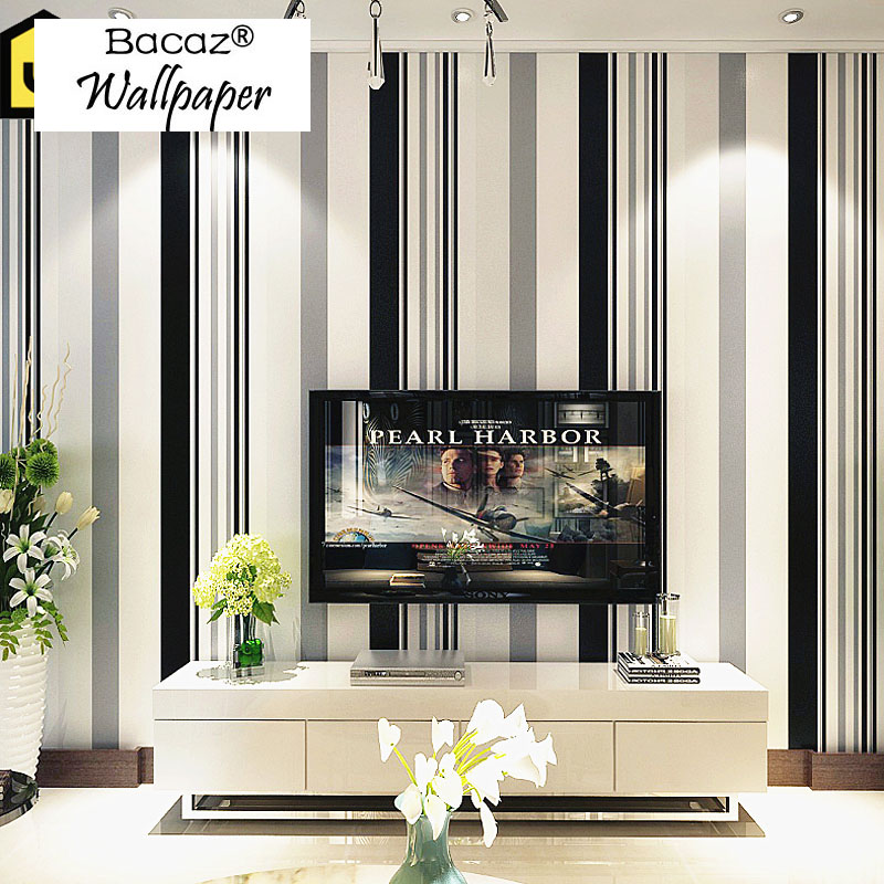 Bacaz Black and white Stripe Wallpaper Rolls 3D Papel Parede 3d wall paper Roll for TV Background Living Room 3d Wallcoverings 3d papel de parede artificial bamboo wallpaper mural rolls for background 3d photo wall paper roll for living room cafe