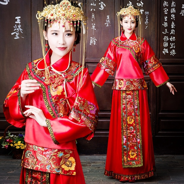 Ancient Chinese costume the bride groom red wedding dress Han ...