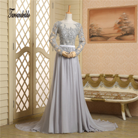 See Through Scoop Neckline Grey Chiffon Long Sleeves Hot Sale Prom Dress Applique Lace Open Back