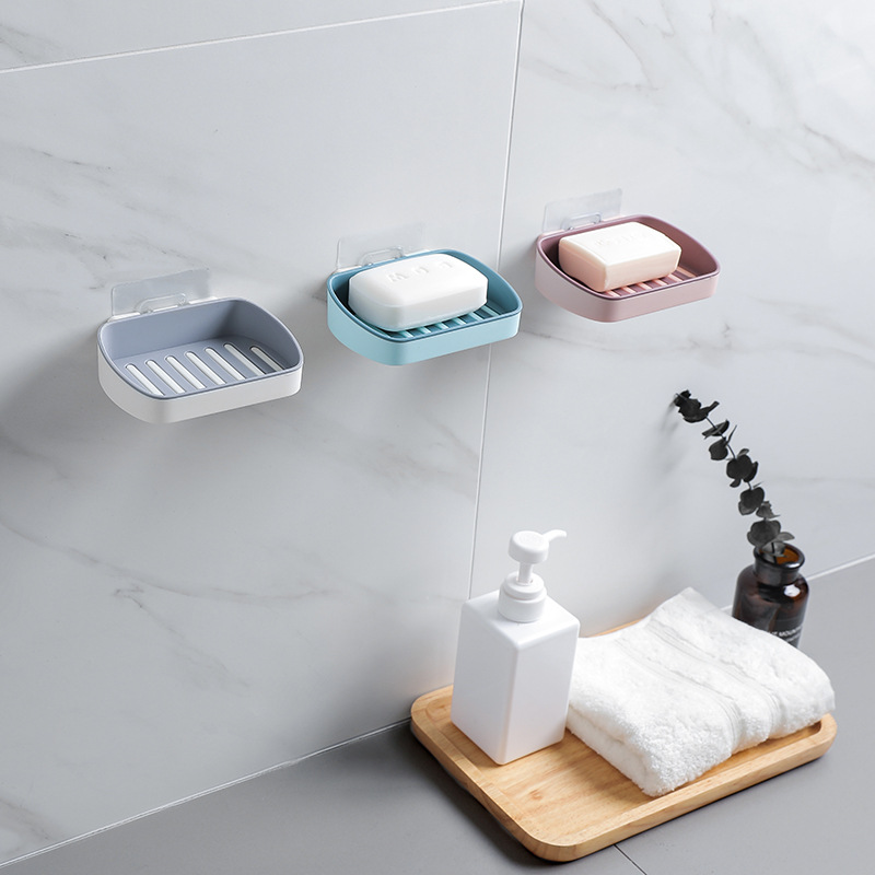 Bathroom Shower Soap Box Dish Storage Suction Cup Corner 4 Colors Plastic Soap Holder Shower Hanger Bathroom Storage Rack