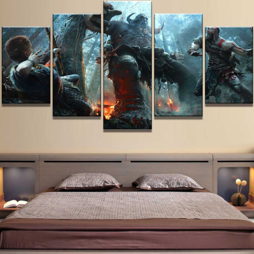 5 Piece HD Print Large God Of War Game Poster Modern Decorative Paintings on Canvas Wall Art for Home Decorations Wall Decor