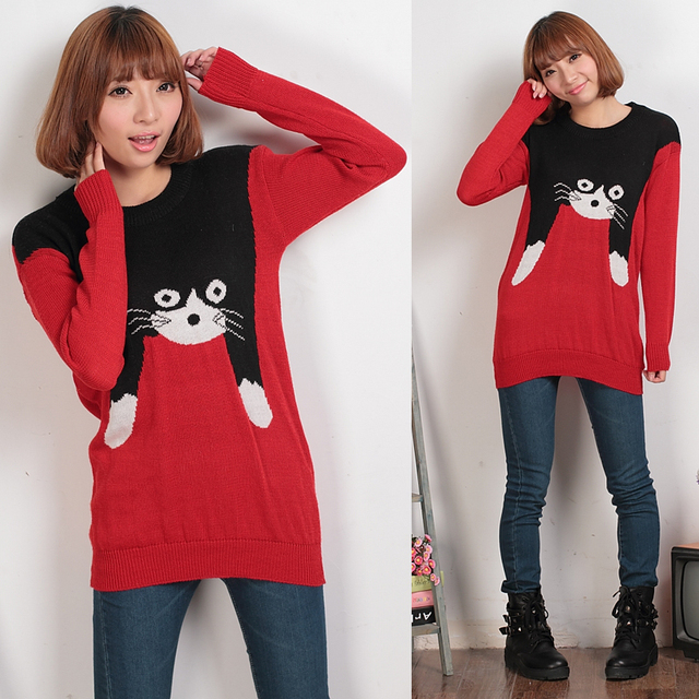 13 spring and autumn elegant sweet o-neck long-sleeve female cat loose sweater outerwear